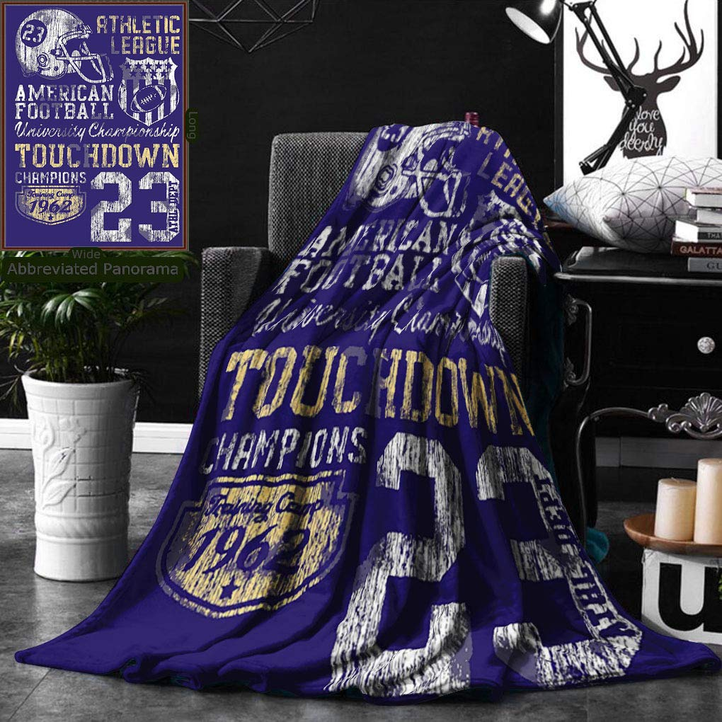 Unique Custom Double Sides Print Flannel Blankets Sports Decor Retro American Football College Version Illustration Athletic Championshi Super Soft Blanketry for Bed Couch, Twin Size 60 x 80 Inches by Ralahome (Image #1)