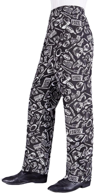 Chef Pantaloni Plain Nero Elasticizzato Cuochi uniforme unisex tasche di buona qualità
