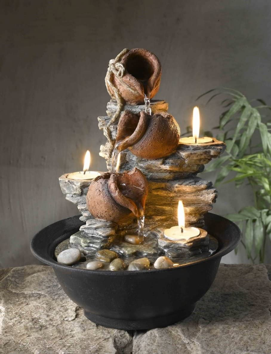CC Home Furnishings 11 Mini Pitchers and Rocks Indoor Table Top Water Fountain with Tea Light Candles