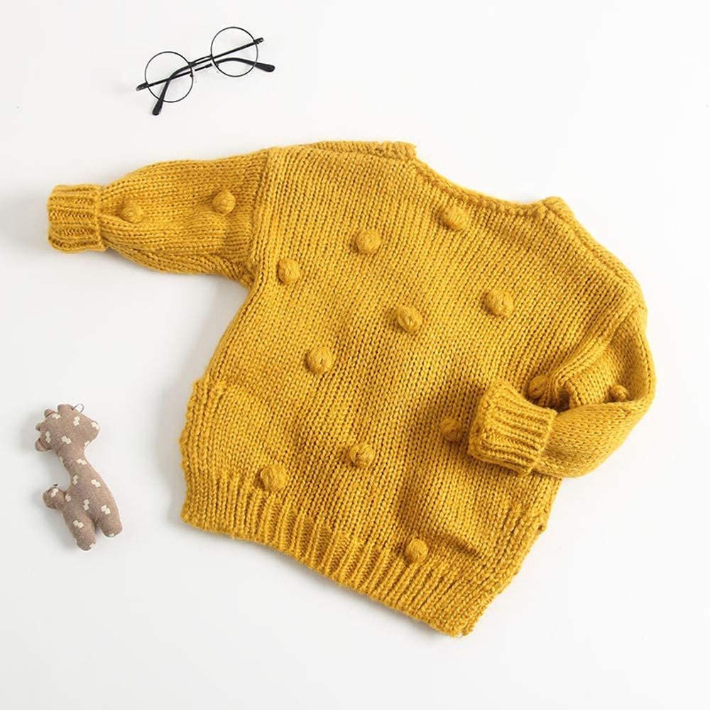 Yousity Toddler Newborn Baby Boys Girls Pompoms Soft Cardigan Sweater Kids Warm Knitted Pullover Tops Winter Jacket Coat