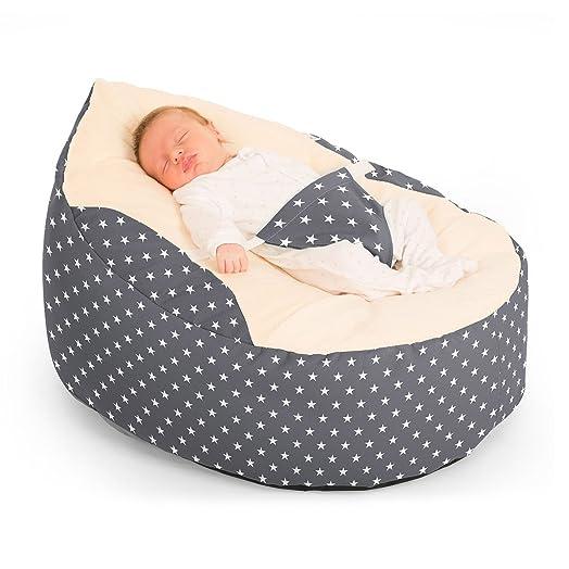 Rucomfy Luxury Cuddle Soft Stars Gaga Baby Bean Bag Grey