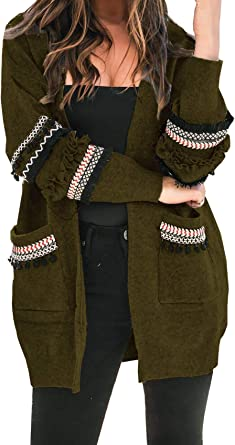 Womens Loose Open Front Cardigan Knitted Sweater Long Sleeve Outwears Top Stretchable Elasticity