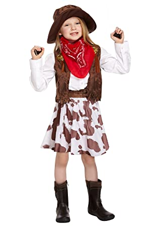 Amazoncom Cowgirl Costume Girls Cow Costume Age 7 9 Toys Games