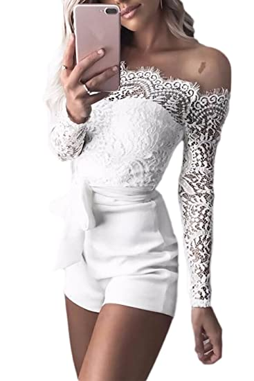 Amazoncom Women Off Shoulder Lace Patchwork Romper Jumpsuits