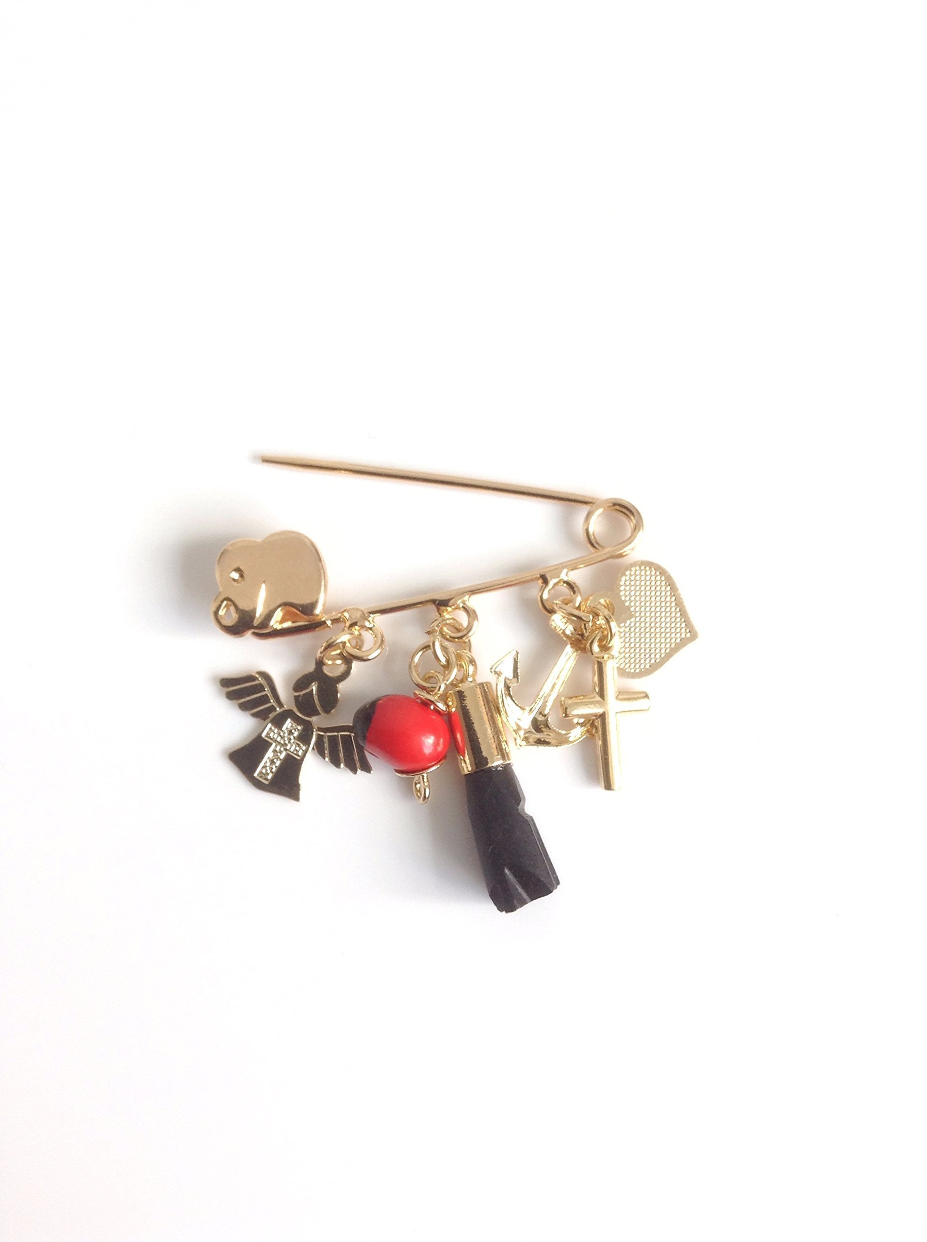 Genuine Azabache pin for babies - baby brooch - azabaches peonia angel cross pendants - amuletos de protection
