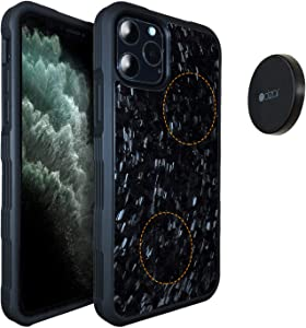 Molzar Carbono Series iPhone 11 Pro Max Case with Genuine Forged Carbon Fiber, Built-in Metal Plate, Magnetic Phone Mount Included, Wireless Charging Support, Compatible with iPhone 11 Pro Max, Black