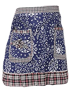 Hyzrz Waist Apron with 2 Pockets Cotton Commercial Restaurant Waitress Waiter for Girl Woman Half Bistro Aprons, Blue
