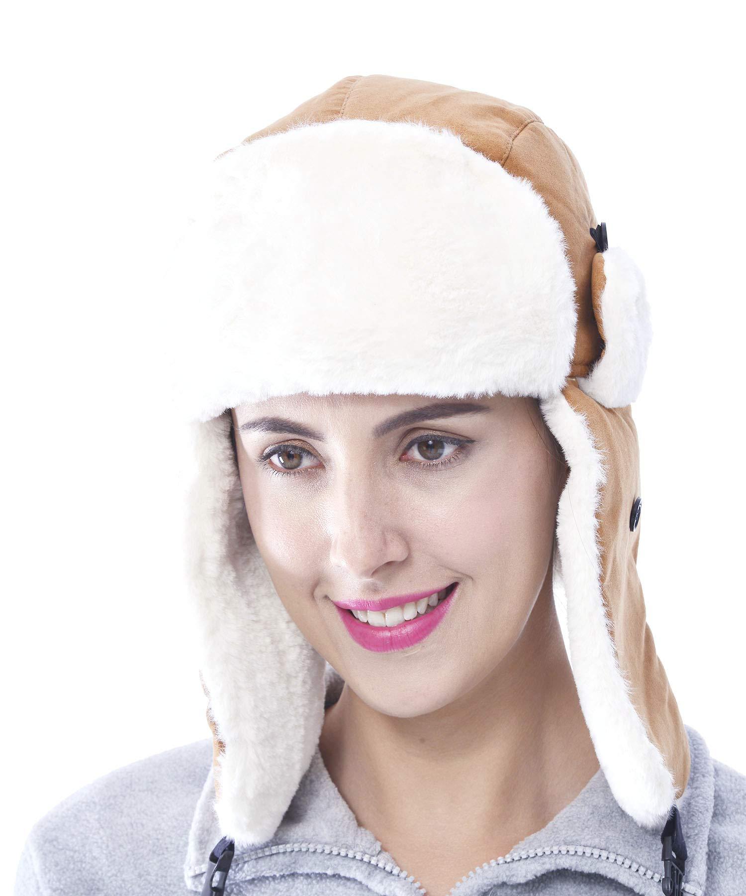 f365825b76a WuhouPro Womens Warm Winter Waterproof Faux Fur Trapper Hat product image