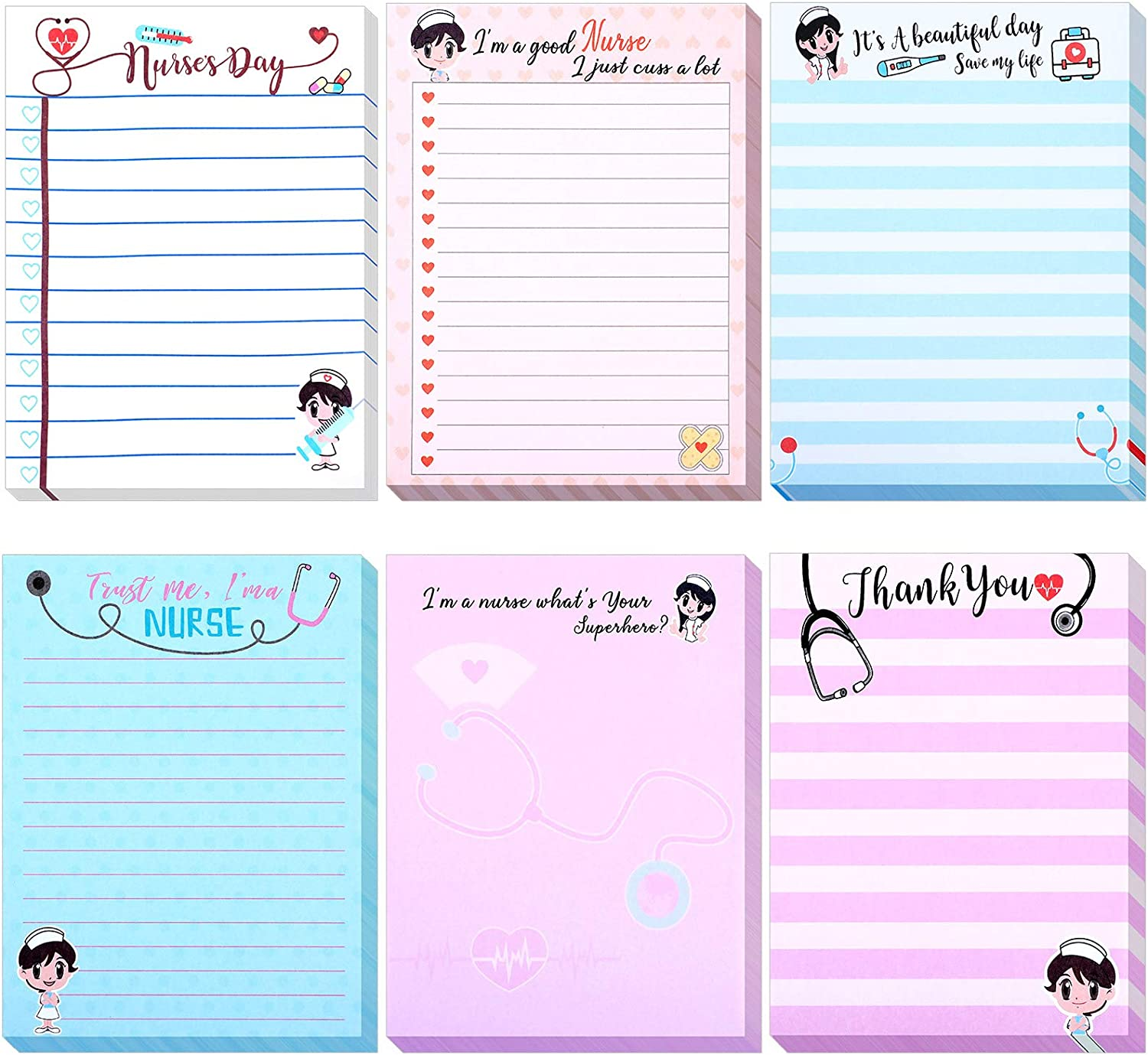 6 Pieces Notepads Nursing Themed Notepads Office Notepads Pocket Notebook Memo Pads Lined and Unlined for Writing Schedules for Nurse Physician Assistant Graduation Season, 50 Sheets Per Note Pad