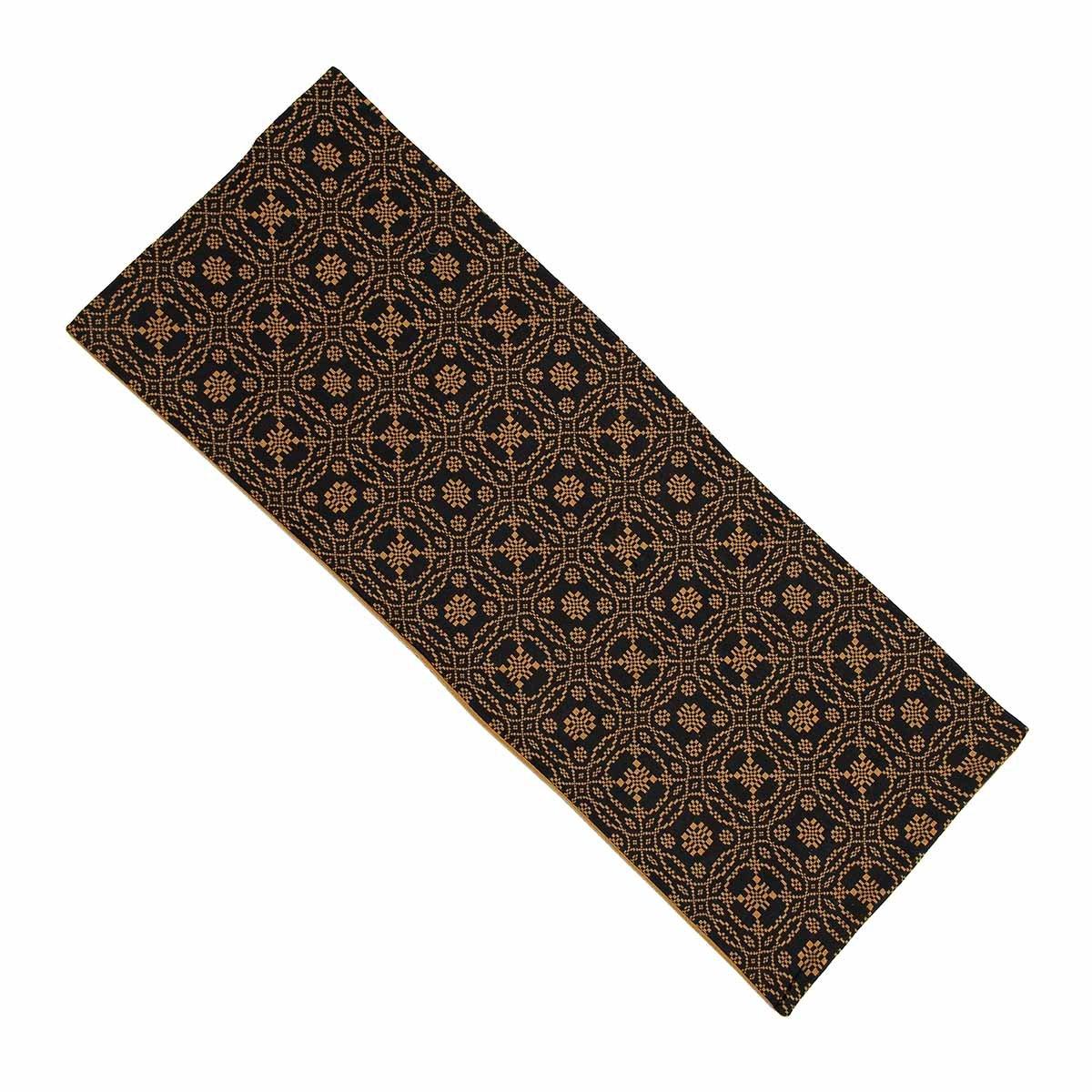 Home Collection by Raghu Lover's Knot Jacquard Black and Mustard Table Runner, 14 by 36''