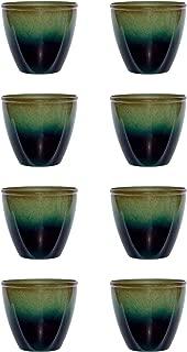 product image for Suncast Seneca 16 Inch Decorative Resin Flower Planter Pot, Green/Blue (8 Pack)
