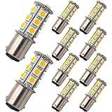 GRV Ba15d 1142 High Bright Car LED Bulb 18-5050SMD AC/DC12V-24V Warm White Pack of 10
