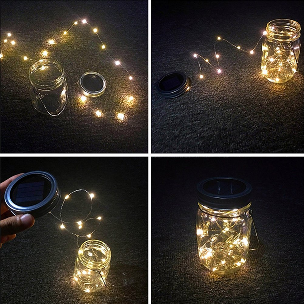 Solar Mason Jar Lights, Adecorty Outdoor Hanging Lights 2 Pack 20 LED String Fairy Star Firefly Jar Lights (Jars & Hangers Included) Warm White Waterproof Solar Lanterns for Garden Patio Outdoor Decor by Adecorty (Image #8)