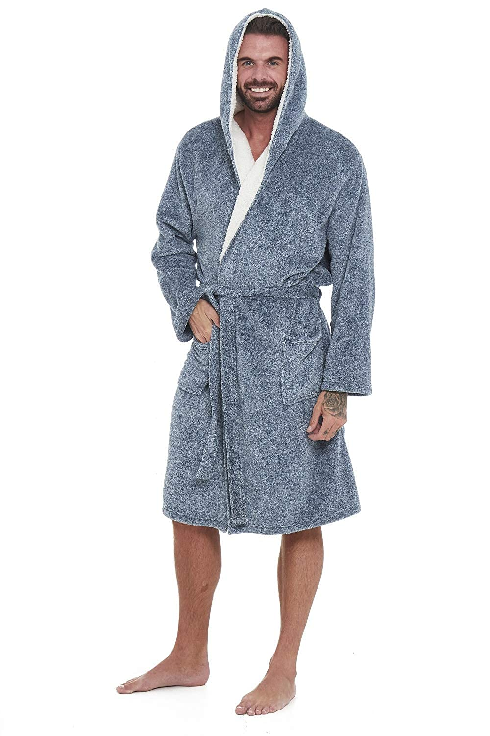 Super Soft Men Dressing Gown Mens Hooded Robe - Offers a Great Combination Between Quality and Comfort - Great Gift