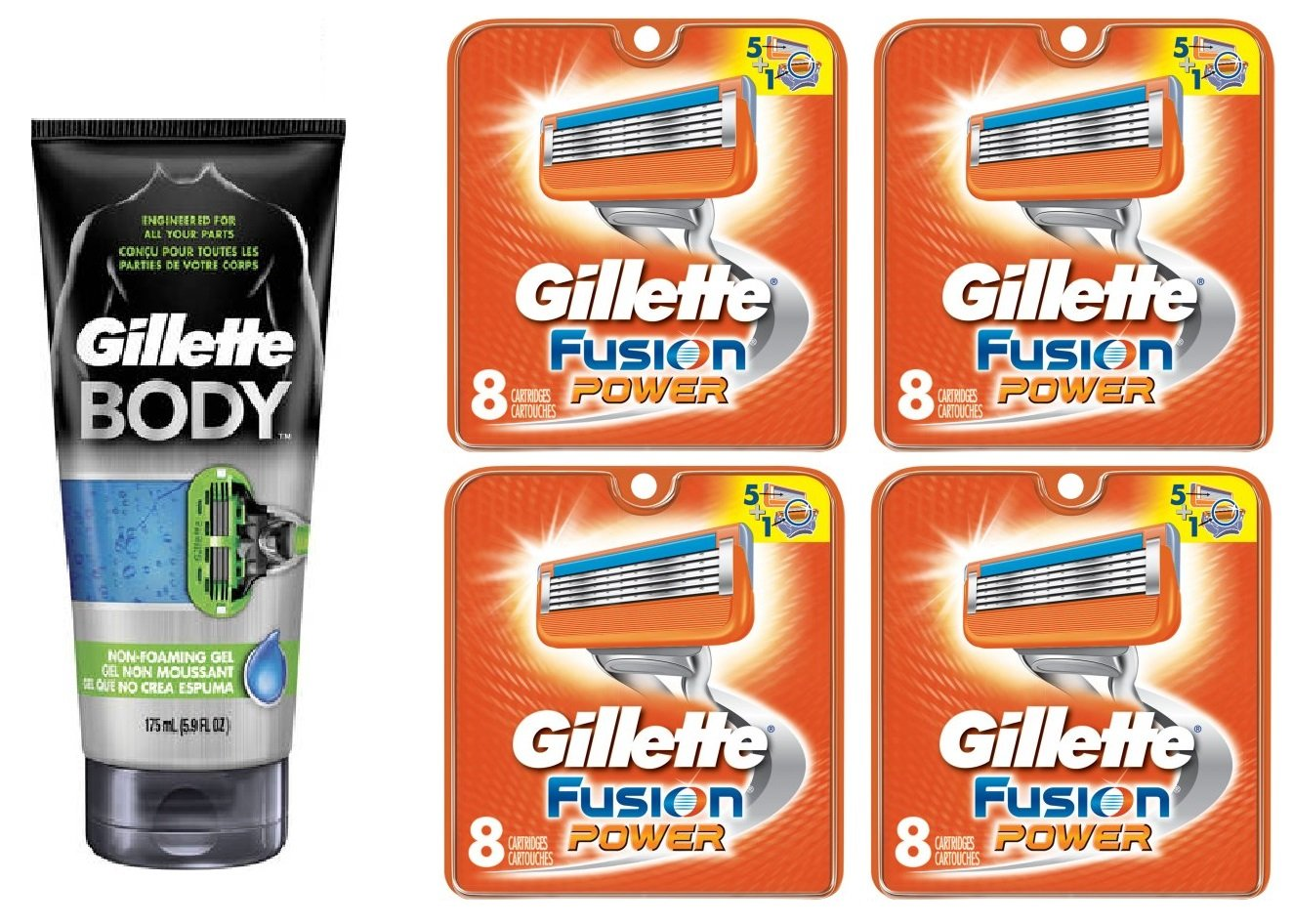 Gillette Body Non Foaming Shave Gel for Men, 5.9 Fl Oz + Fusion Power Refill Blades 8 Ct (4 Pack) + FREE Assorted Purse Kit/Cosmetic Bag Bonus Gift