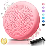 Tumaz Wobble Cushion with Air Pump Wiggle Seat, Two Sides Available Stability Balance Disc - Help with Core Strength, Attention, Staying Sitting, Postural Control and Balance for All Ages