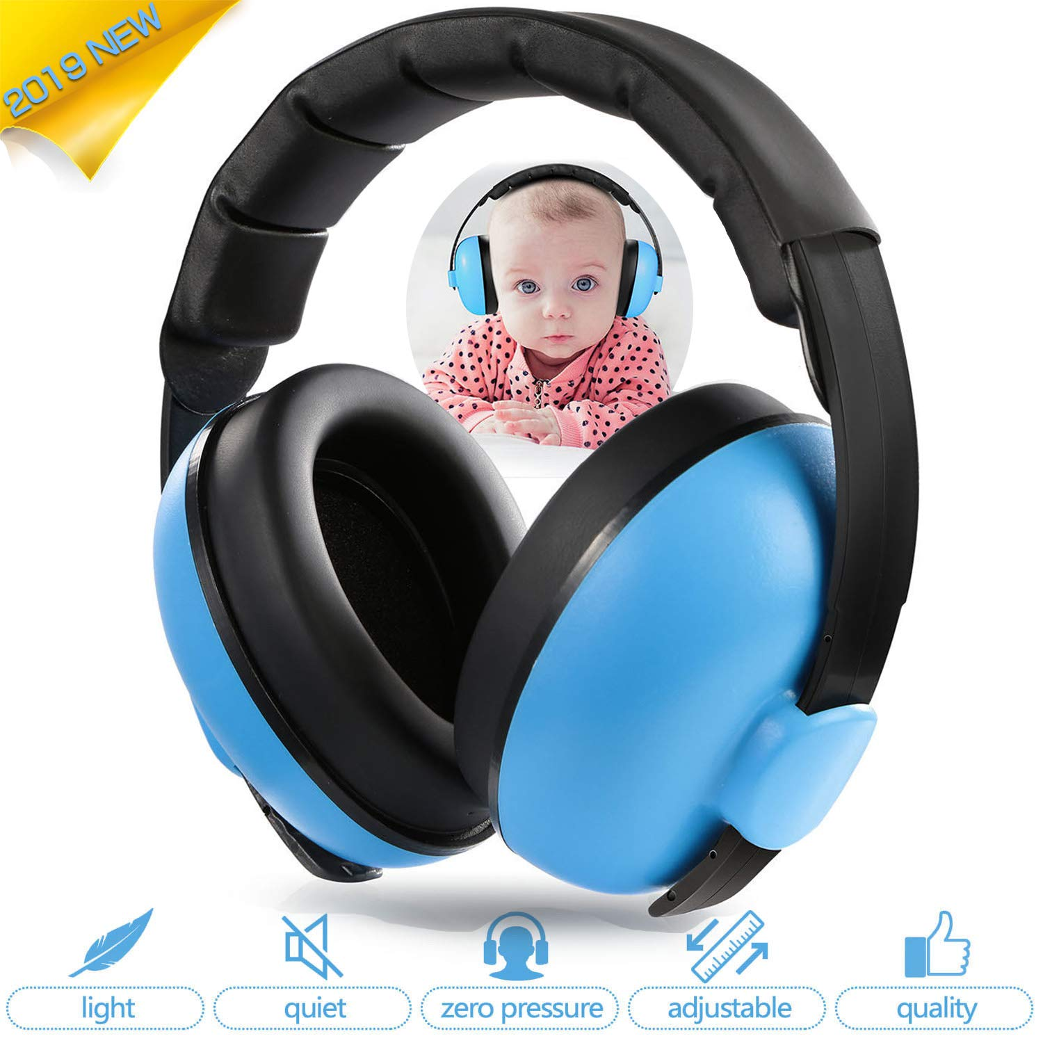 Baby Ear Protection Noise Cancelling Headphones Infant Hearing Protection Noise Reduction Baby Earmuffs for 0-3 Years Babies Toddlers Infant Sleeping Airplane Concerts Fireworks Blue