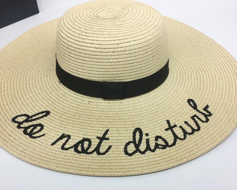 Sombrero de Paja Ajustable para Mujeres con Los Bordados Frases Do Not  Disturb de ala Ancha Grande de para Playa Parque y Piscina de Sombrero de  ... 849ce271a37