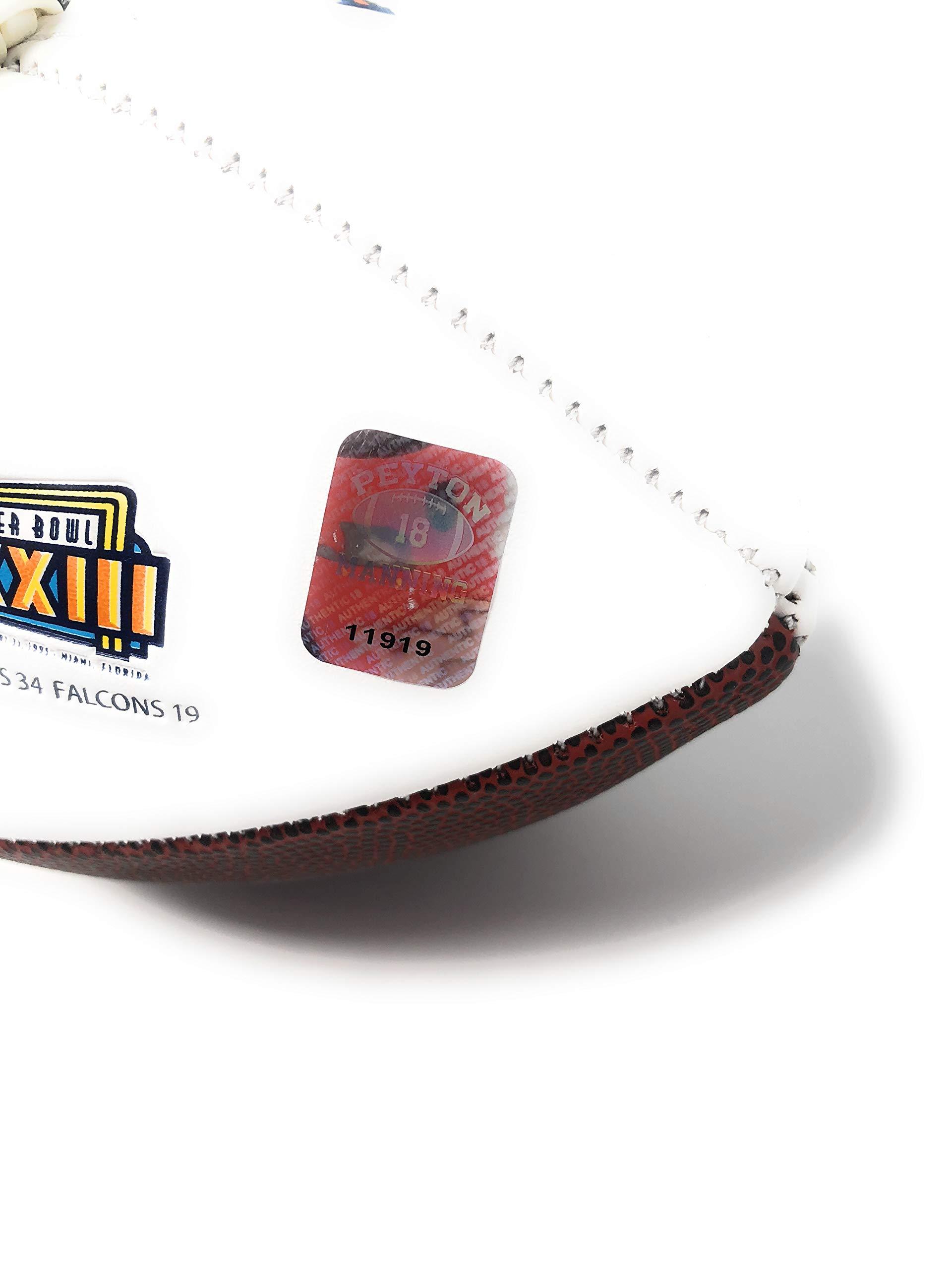 Peyton Manning Denver Broncos Signed Autograph Embroidered Logo Football Main Panel Manning Player Hologram
