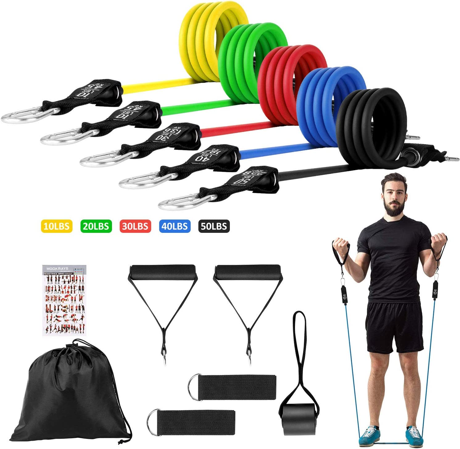 12pcs home gyms workout set Resistance bands fitness exercise trength training