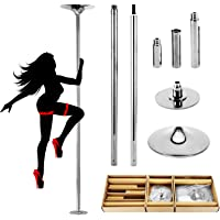 PRIOR FITNESS 45mm Removable Dancing Pole Set Spinning Static Dancing Pole Portable Fitness Dance Pole Kit for Exercise…