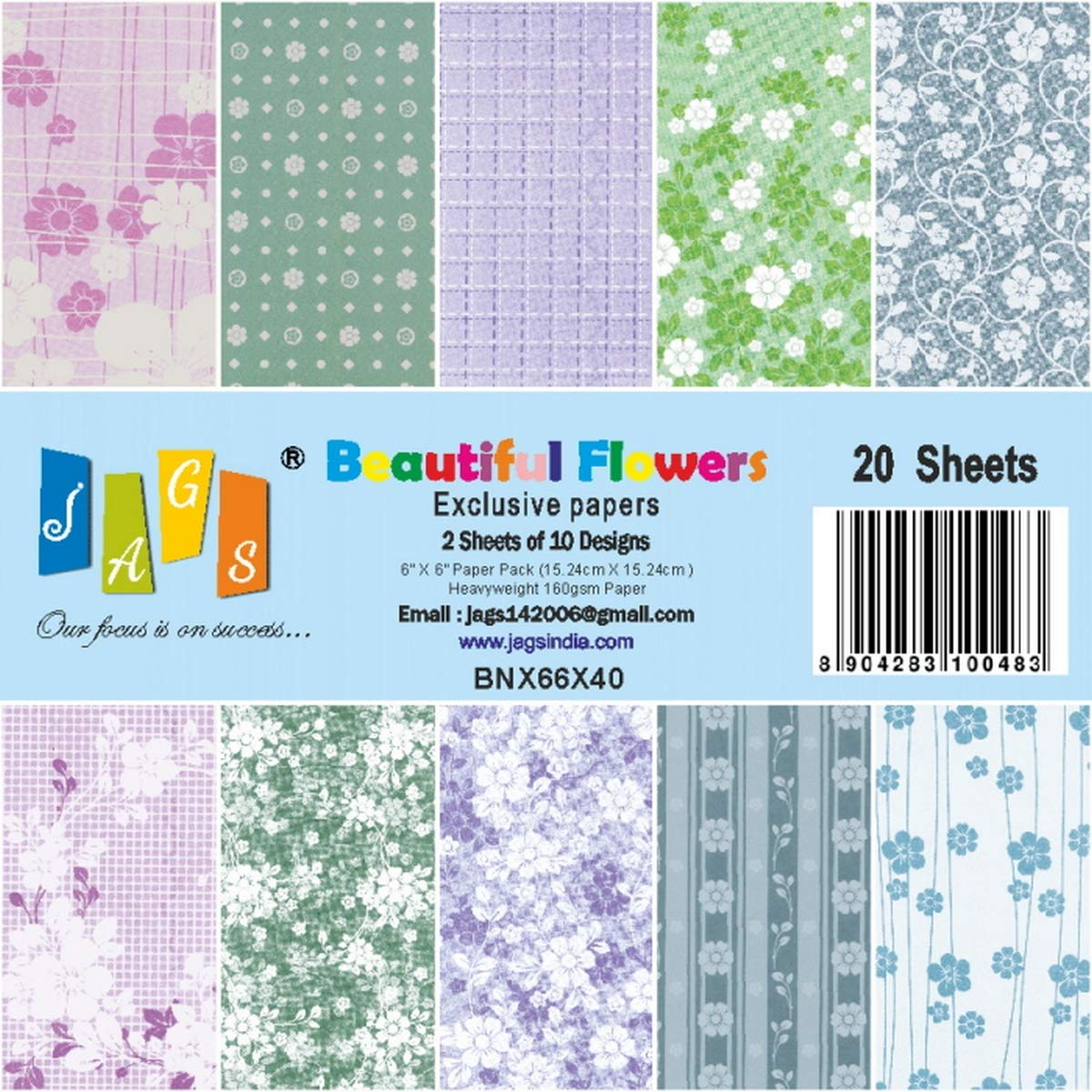 Pack of 32 JAGS Capsule Collection 6x6 Inch Printed Paper for Crafts 2 Sheets Each of 16 Designs for Making DIY Greetings and Scrapbooking