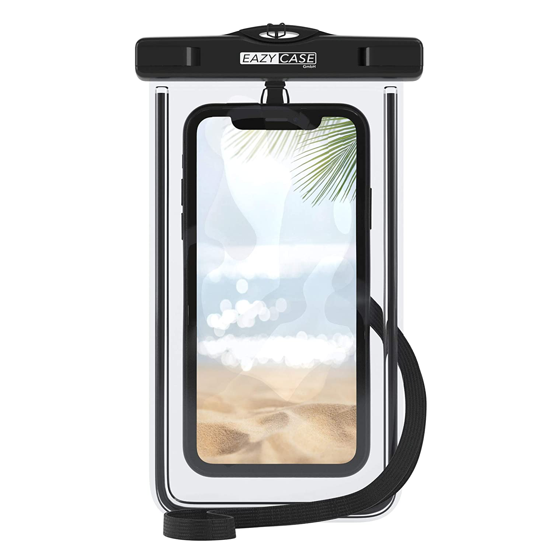 IPX8 Zertifiziert sch/ützt vor Staub Transparent//Wei/ß Schmutz Wasser I Schutzh/ülle mit Umh/ängeband Sand EAZY CASE wasserdichte Handytasche f/ür alle Smartphones bis 6 Zoll Schnee