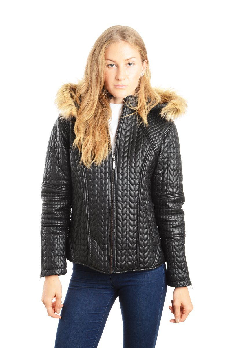 REED Women's Designer Coat With Zip Out Hooded Faux Fur Leather Jacket (2X, Black)