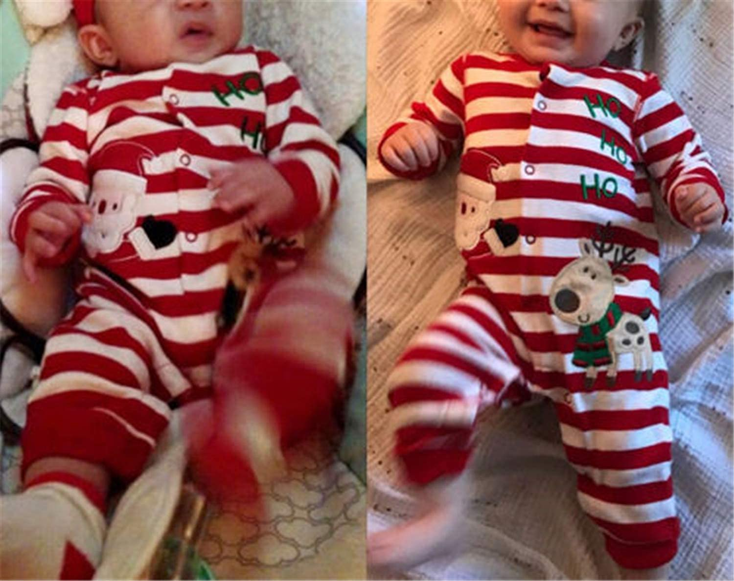 Daniel Galsworthy Christmas Baby Kids Boys Girl Romper Cotton Stripe Santa Claus Jumpsuit+Hat Set Cute Clothes