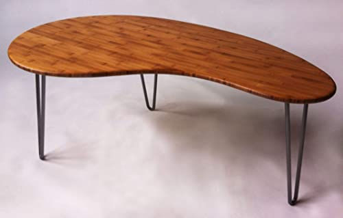 Mid Century Modern Coffee Cocktail Table Kidney Bean Shaped Atomic Eames Era Boomerang Design in Natural Caramelized Bamboo