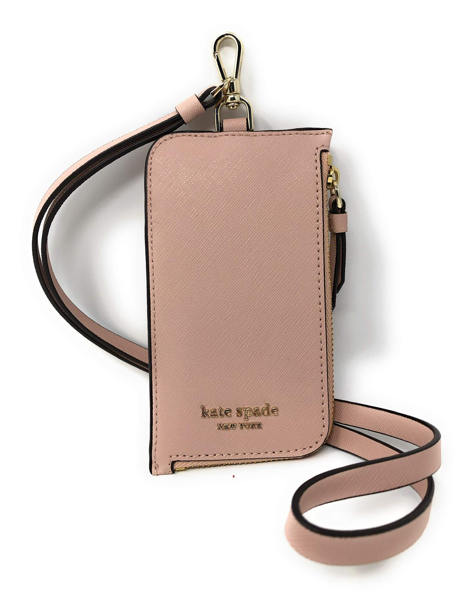 Kate Spade New York L-Zip Saffiano Leather Card Case Lanyard Warm Vellum