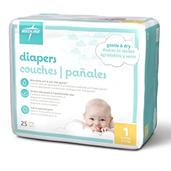 Medline MBD2001Z Baby Diapers, Size 1, 8–14 lb. (Pack of