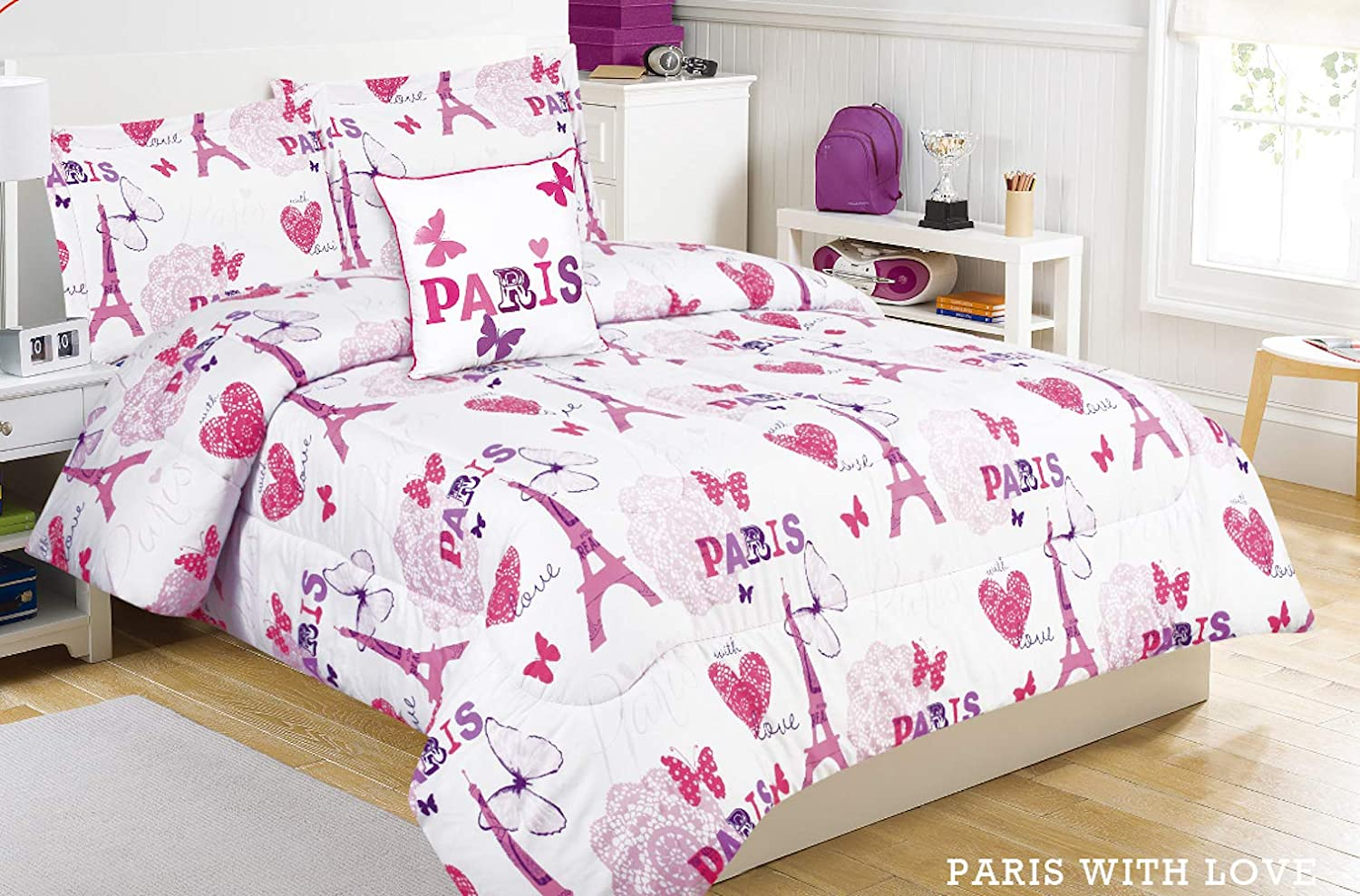 Mytex LLC Paris Love 3-Piece Comforter Set Eiffel Tower, Butterflies, Hearts, Typography, Girls Bedding, Polyester, Fuchsia, Twin