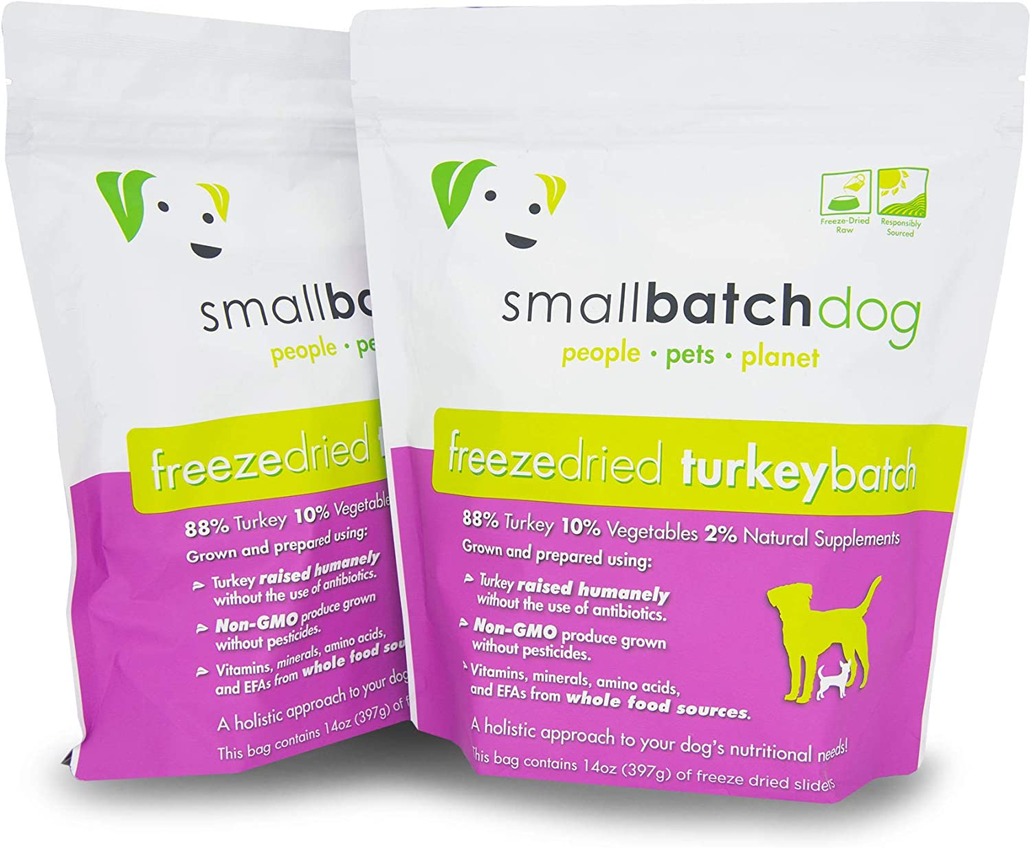 Smallbatch Pets Freeze-Dried Premium Raw Food Diet for Dogs, 2-Pack, Turkey Recipe, 14 oz in Each Bag (28 oz Total), Made in The USA, Organic Produce, Humanely Raised Meat, Hydrate and Serve Patties