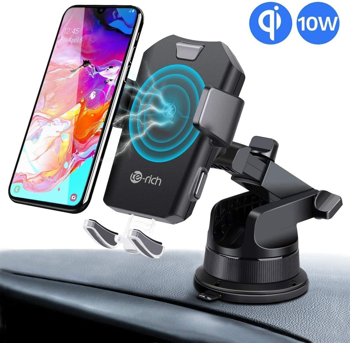 Wireless Car Charger Phone Holder Mount, 7.5W Qi Fast Charing Compatible with Apple iPhone 1111 Pro11 Pro MaxXRXSXS MaxX88Plus,10W for Galaxy