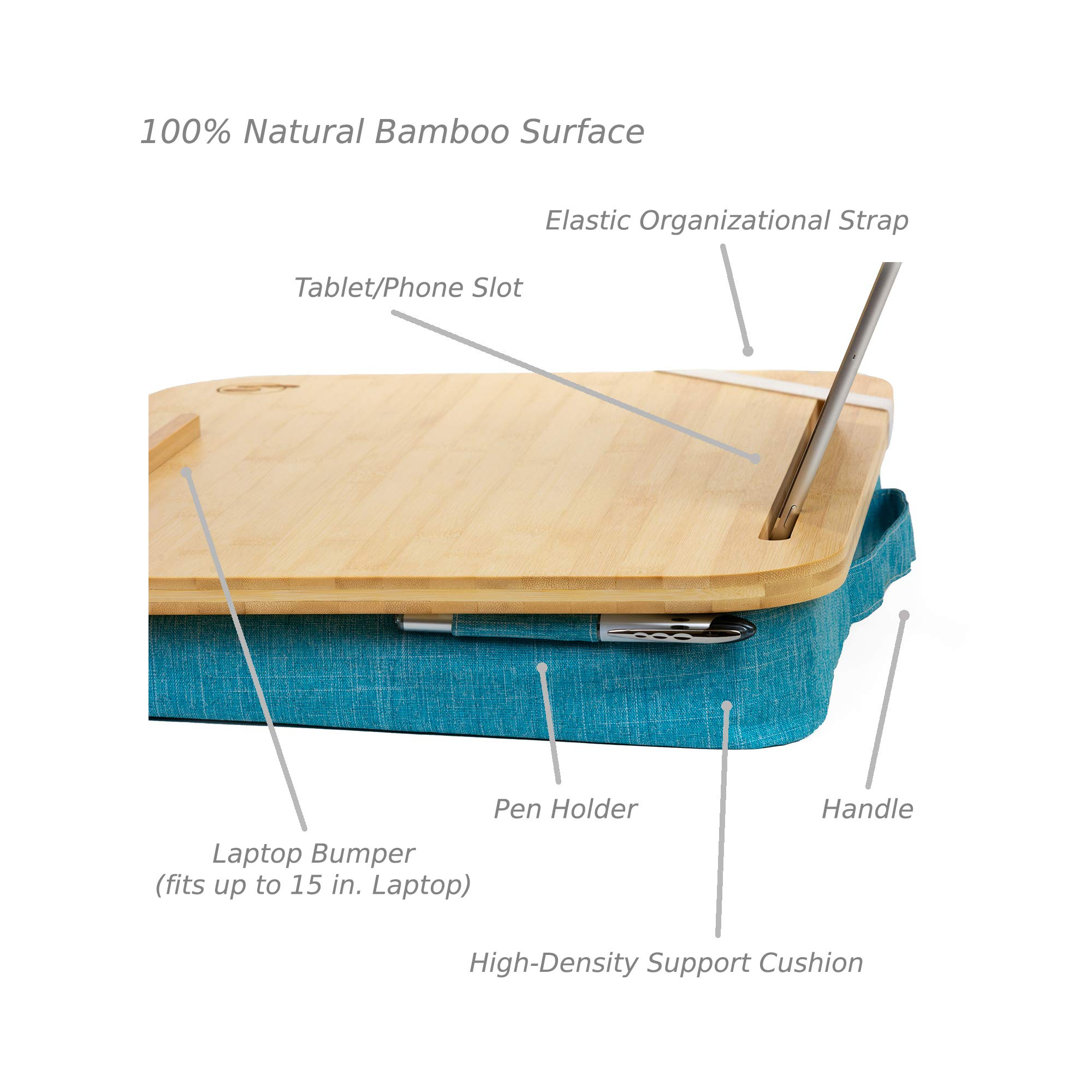 Portable Lap Desk by Hultzzzy - with 100% Real Bamboo Surface - Holds 18'' Laptops, Media Slot Fits 15'' Tablets - Premium Quality by Hultzzzy (Image #2)