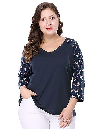 c7222ebb Agnes Orinda Women's Plus Size Casual V Neck 3/4 Sleeve Raglan Floral Top  Blouse