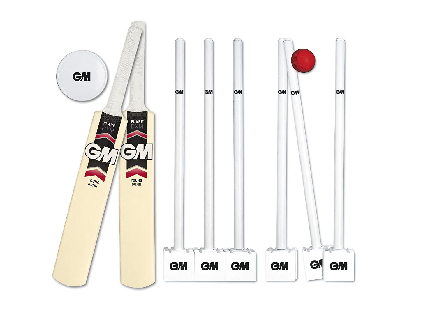 GM Flare Young Gunn Cricket Set Size 3 Red//White//Black