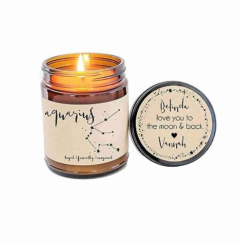 Amazon.com: Aquarius Zodiac Candle Zodiac Gifts Birthday Gift Birthday Candle Personalized Soy Candle Aquarius Gift Star Candle Star Sign Gift for Her: ...