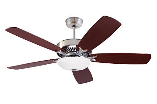 Emerson Ceiling Fans CF4801BS Premium Select Indoor Ceiling Fan, Blades Sold Separately, Light Kit Adaptable, Brushed Steel Finish