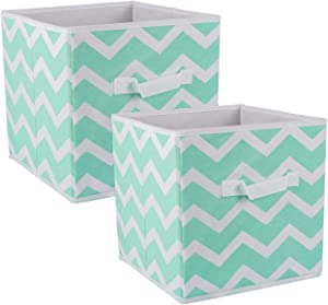 DII Foldable Fabric Storage Bins for Nursery, Offices, Home, Containers are Made to Fit Standard Cube Organizers, Small (2), Aqua