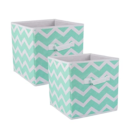 DII Foldable Fabric Storage Bins for Nursery, Offices, Home, Containers are Made to Fit Standard Cube Organizers, Small-11 x 11 x 11, Chevron Aqua