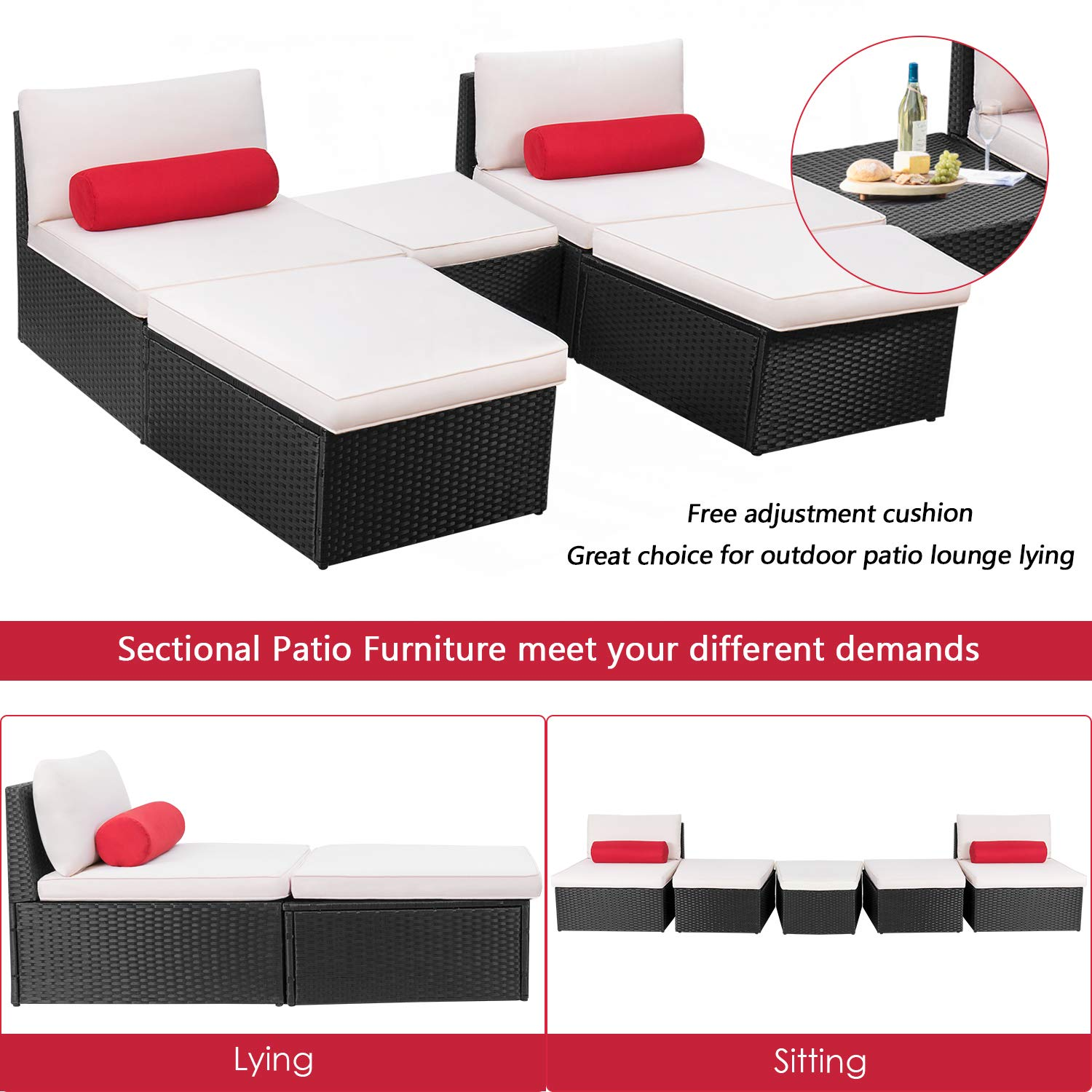 Devoko 5 pieces patio outdoor furniture set all weather pe wicker sectional patio chaise lounge poolside rattan patio conversation sets with cushion black