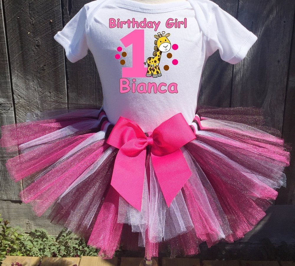 ef4d1daa66b58 Personalized Baby Giraffe birthday tutu outfit. Comes as shown with Hot  Pink, Brown and White tutu and a Hot Pink detachable sash bow.