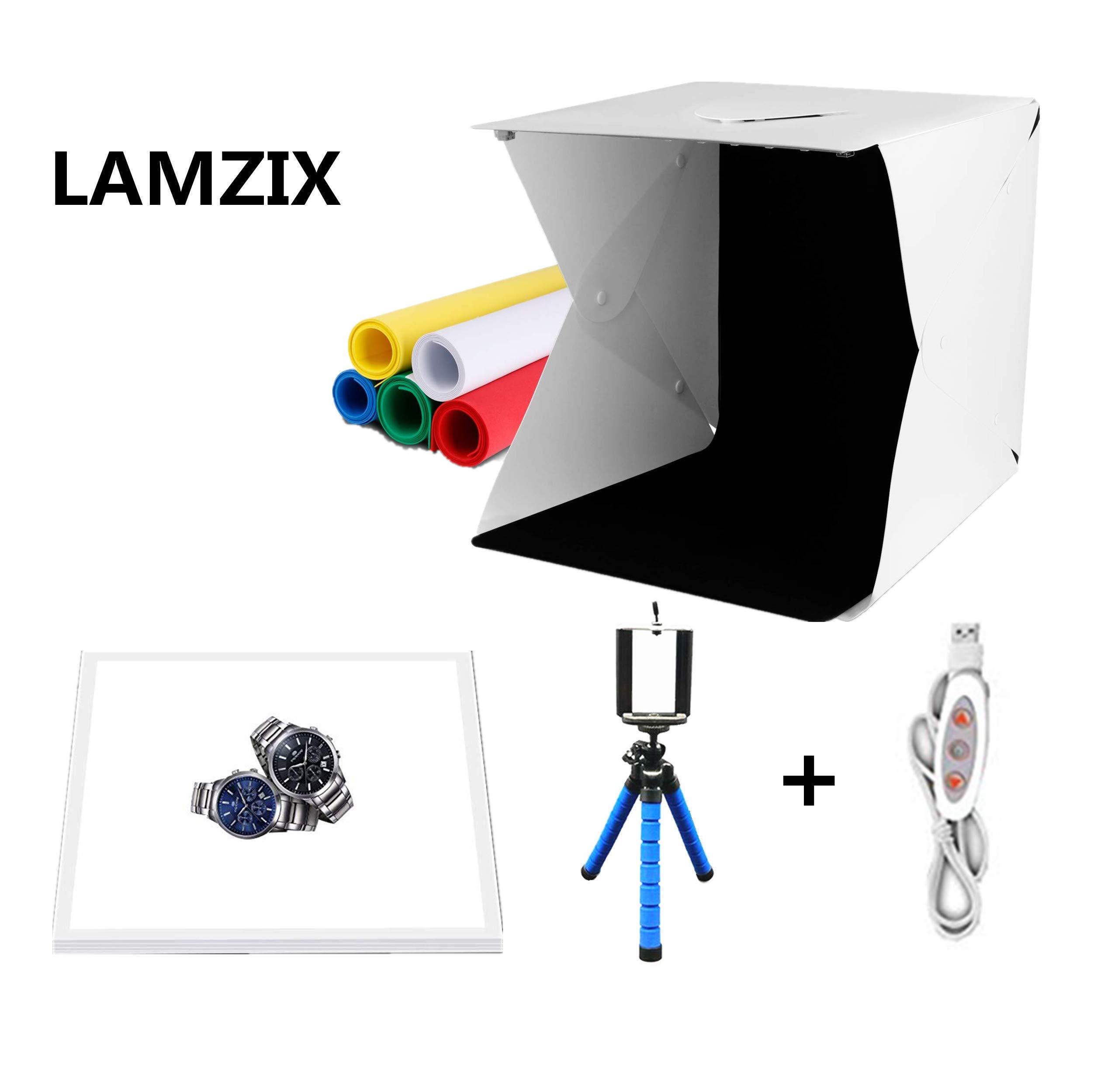 LAMZIX 22x22x23(cm) Mini LED Photography Shadowless Light Lamp Panel Pad and Light Box Kit Studio Shooting Tent Box with Dual Adjustable LED Light and 6 Background kit