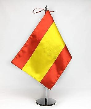 ABBE Global Bandera de Mesa Bordada España 20x30 y mástil: Amazon.es: Hogar