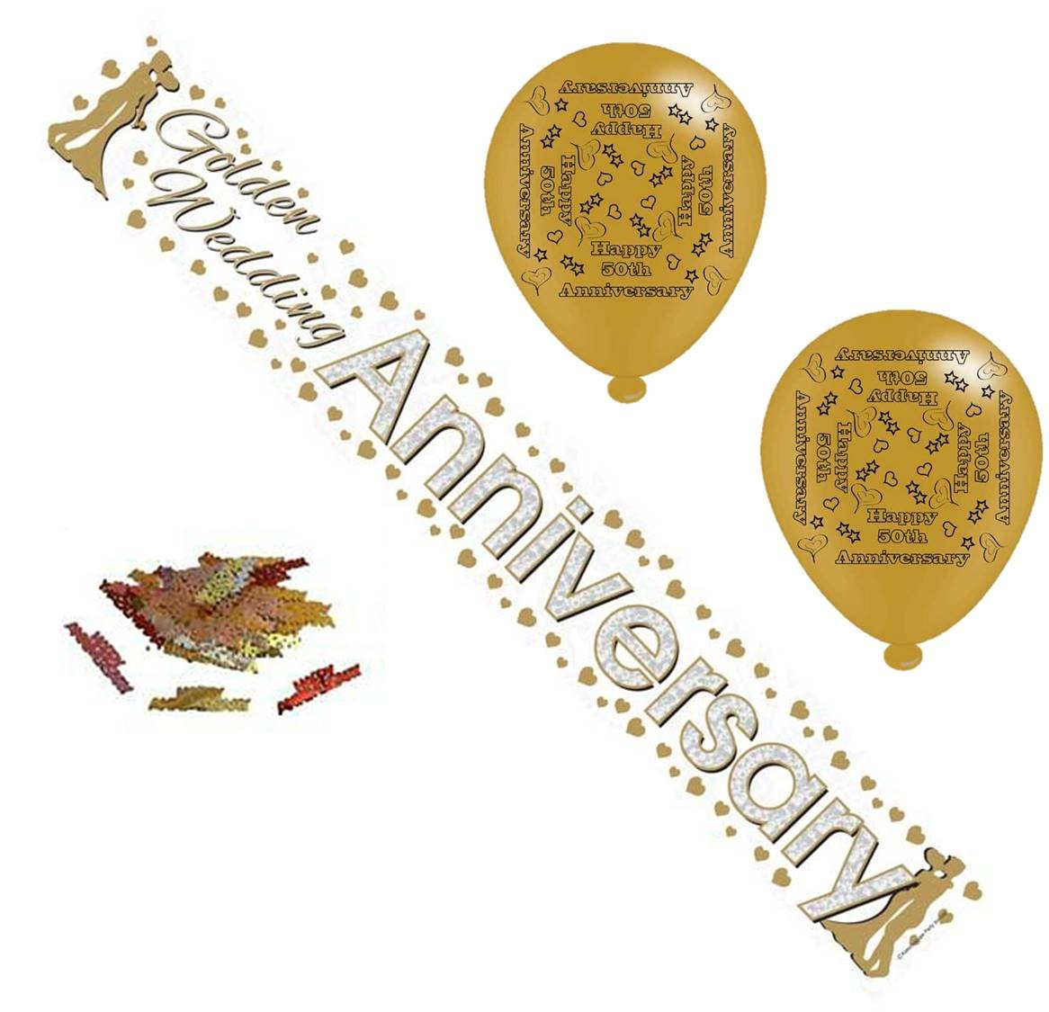 Golden 50th Wedding Anniversary Party Pack - Banner, Balloons & Table Confetti Cards Galore Online