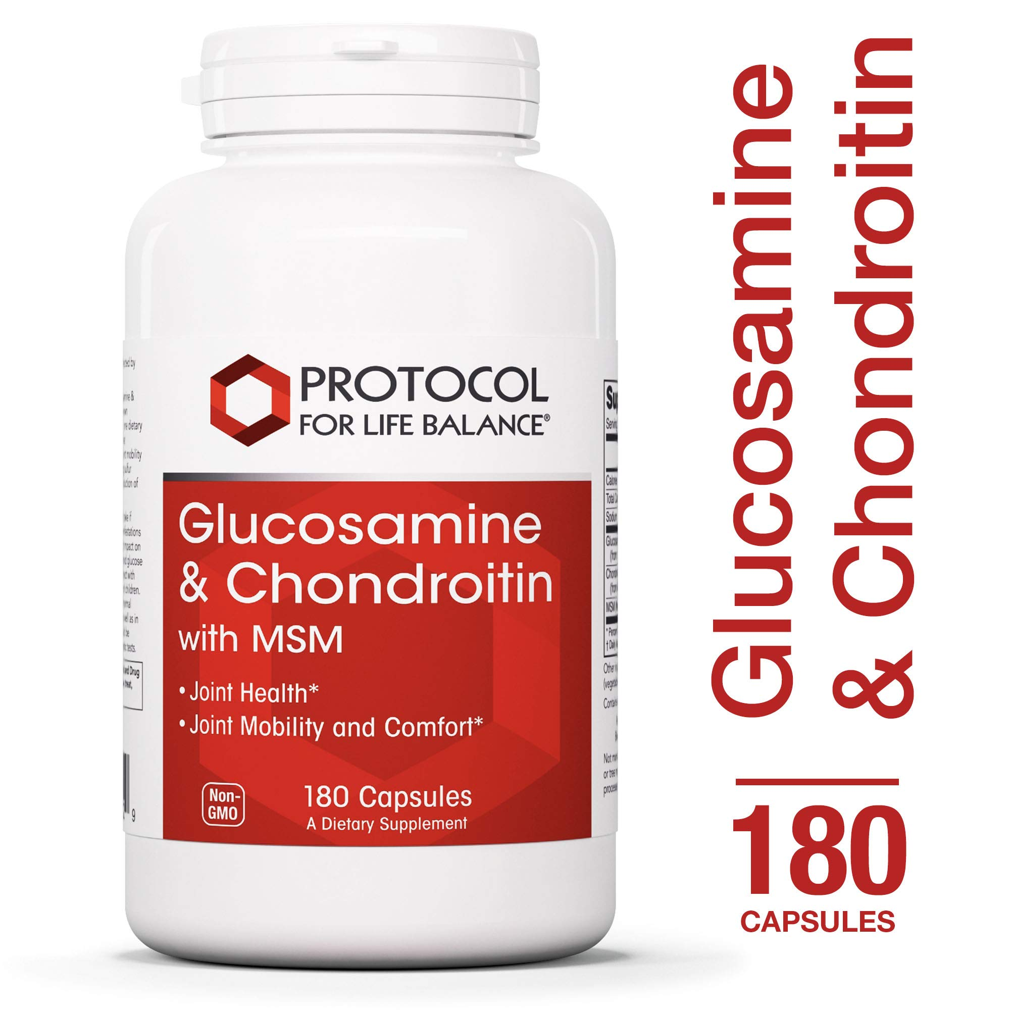 Protocol For Life Balance - Glucosamine & Chondroitin with MSM - Supports Healthy Joint Function and Comfort - Promotes Stronger Bones and Cartilage - 180 Capsules