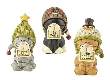 Juego de 3 adornos de Navidad gato/figuras - 3 gatos en sombreros con signos de Navidad y una campana - por flor cubo: Amazon.es: Hogar