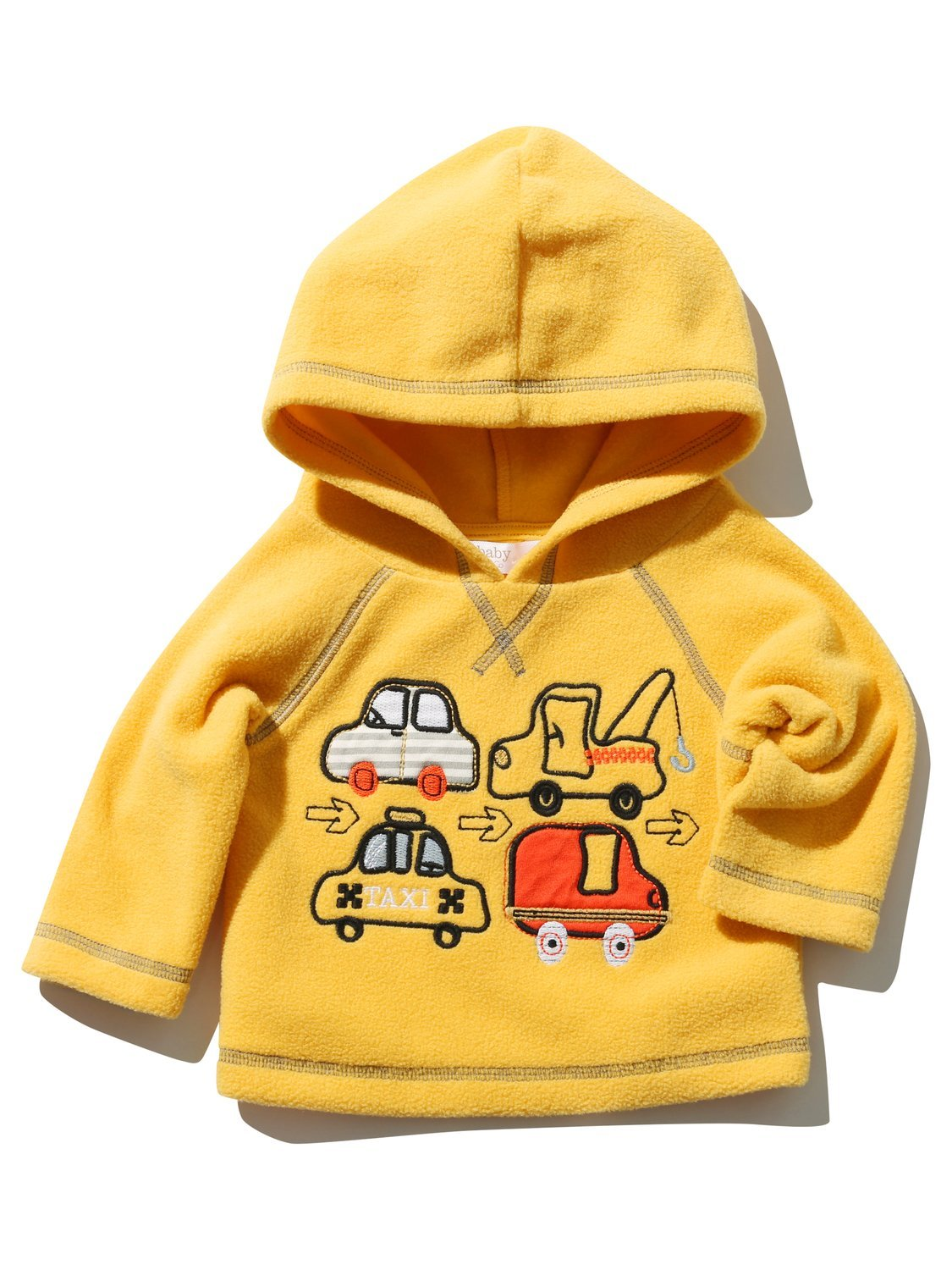 M& Co Baby Boy Yellow Long Sleeve Transport Applique Hooded Fleece